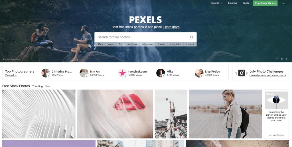 Pexels tilbyder gratis billeder