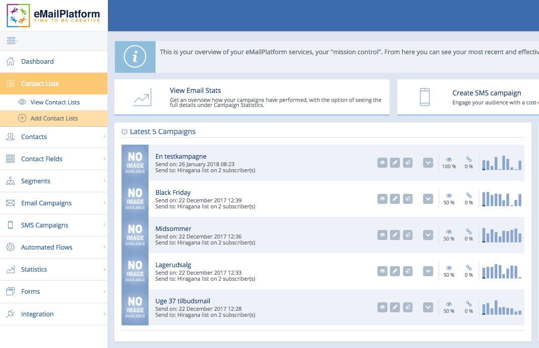 Contact List menupunkt