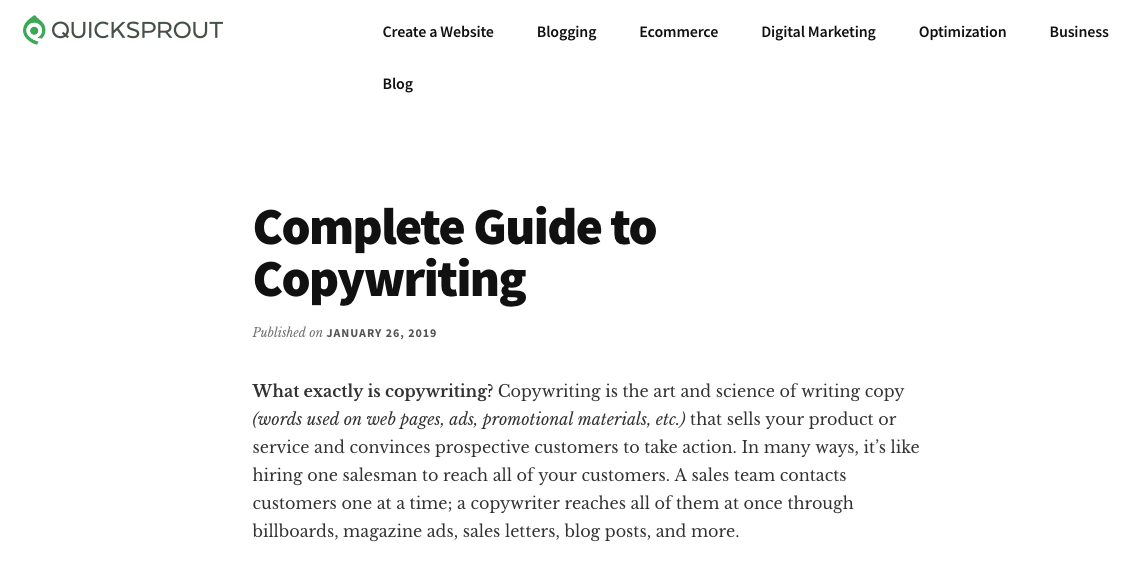 """An example of long form content from Quicksprout who created an exhaustive guide named """"Complete Guide to Copywriting""""."""