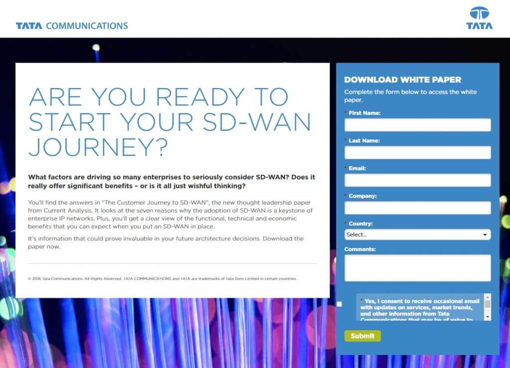 An example of sign-up landing page for White Paper as content type in communication strategy from Tata Communications.
