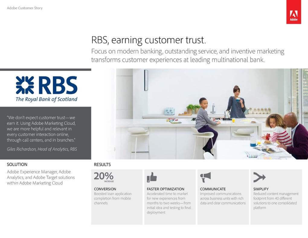 An example of case study as content type in communication strategy from Adobe and Royal Bank of Scotland.