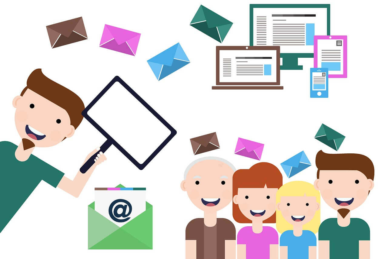 Emails and colorful envelopes flying around smiling people and computer devices illustrating email personalization