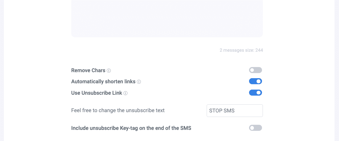 SMS toggles